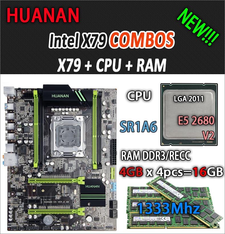 HUANAN de V2.49 X79 placa base LGA2011 ATX combos E5 2680 v2 SR1A6 4x4G 16 GB 1333 MHz USB3.0 SATA3 PCI-E NVME M.2 SSD