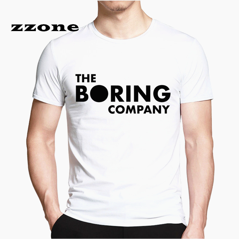 The Boring Company Letters Printed Elon Musk Men's T-shirt Short Sleeve Casual T-shirt Tee HCP4548