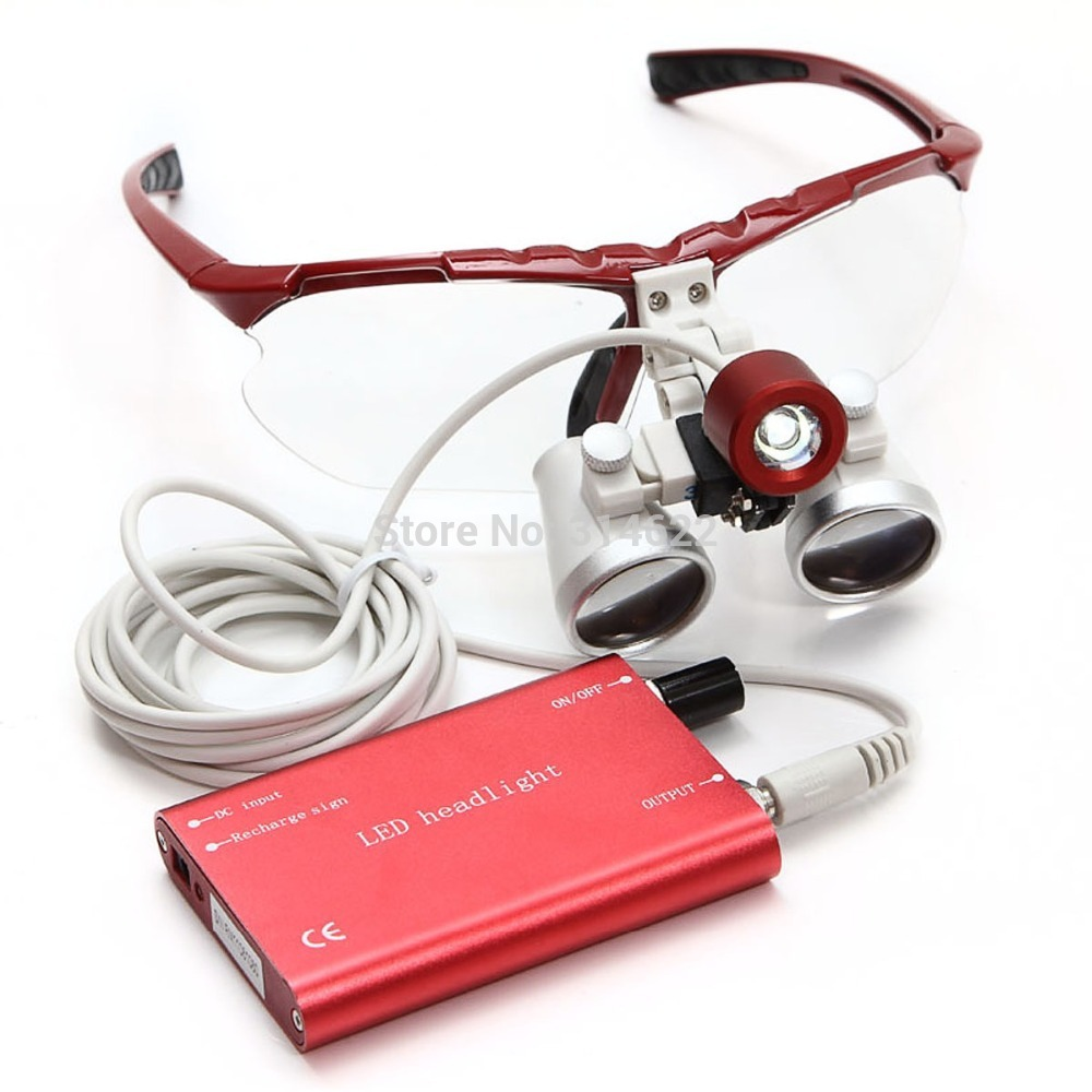 Free Shipping Red 3.5X 420mm Dental Surgical Medical dental Loupes dental glasses with LED Head Light