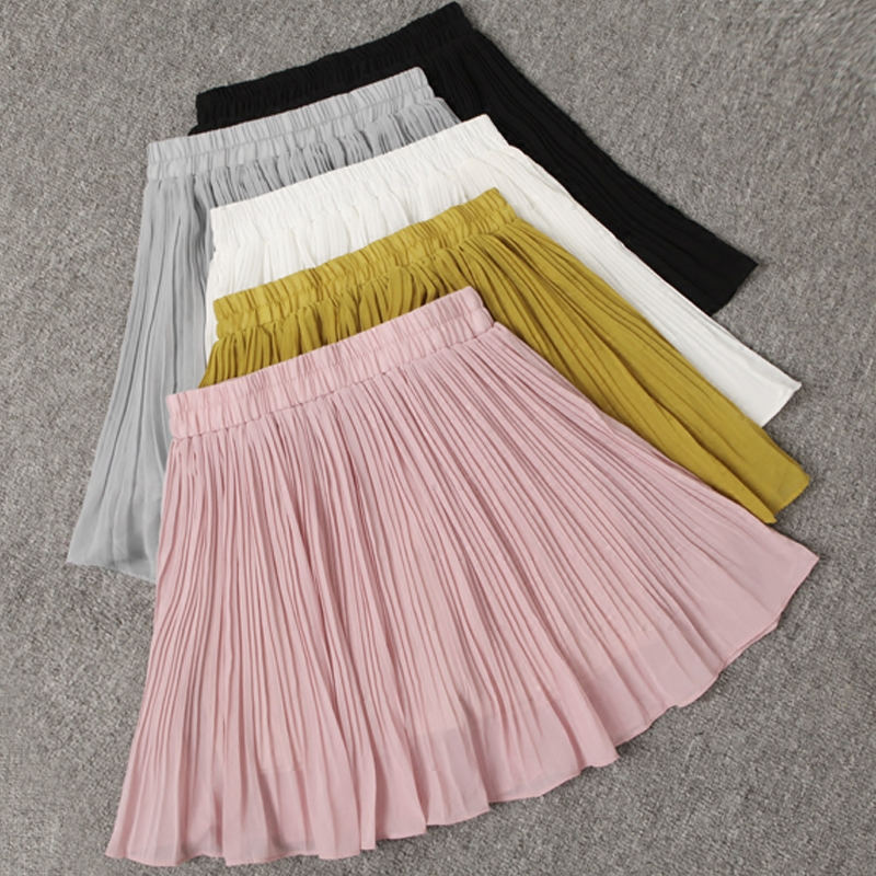 Spring High Waist Chiffon Pleated Skirt Women Harajuku Summer Mini Skirt Jupe Femme Sexy Beach Skirt Short Ladies Skirts C5308