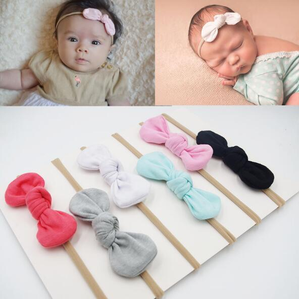 New Baby Girls Nylon Headband Bow Head Band Hair Accessories Elastic Rabbit Ear Knot Hairband For Infant Toddler 1PCS 2017 hot 1pcs cute korean flower bunny rabbit ear ribbon headwear hairband metal wire scarf headband hair band accessories 520