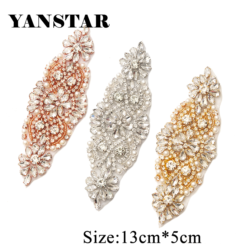YANSTAR(30pcs) Wholesale Hand Beaded Sewing Bridal Crystal Rhinestone  Applique Patch For Wedding Dresses dea57f24660b