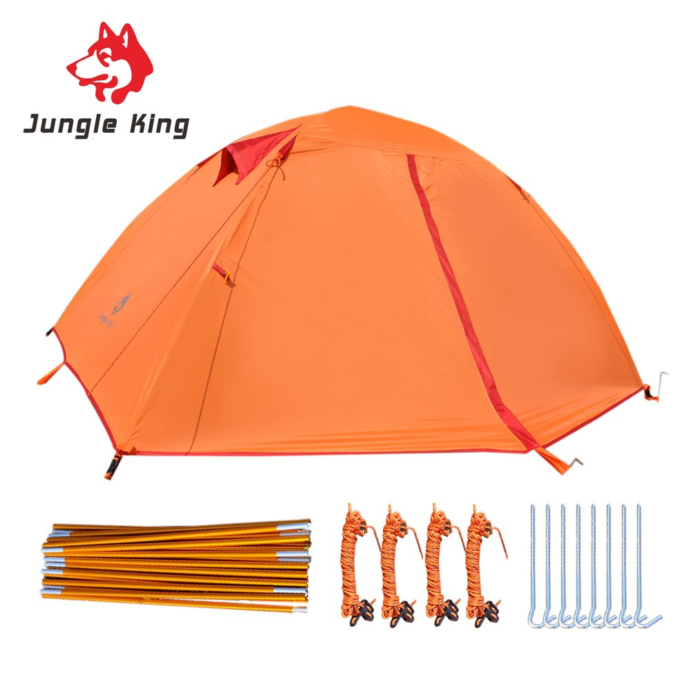 Jungle King Double Layers 2 Person Windproof Waterproof Polyester Tent Breathable Outdoor Camping Hiking Fishing Beach Tent outdoor double layer 10 14 persons camping holiday arbor tent sun canopy canopy tent