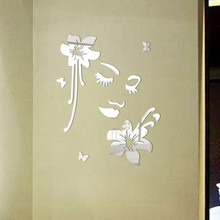 3D DIY Butterfly Flower Lady Features Wall Stickers Acrylic Mirror Decals Living Room Bedroom Bathroom