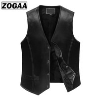 ZOGGA 2019 Black Leather Vest Men 5XL Winter Slim Fit Waistcoat Gentleman Genuine Sheepskin Leather Business Sleeveless Jackets