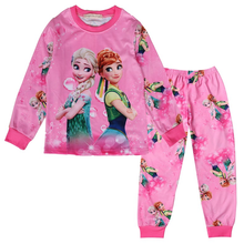 Купить с кэшбэком Autumn new children's pajamas set ice and snow doll girls autumn clothes long pants suit baby pajamas two-piece