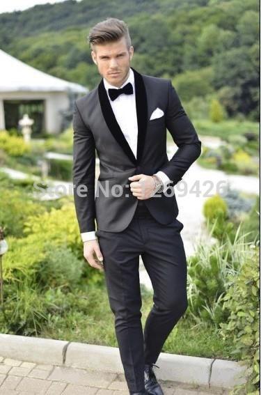 Groom Tuxedos Pants Jacket Girdle Wedding-Suits Charcoal Grey Best Black Collar Shawl