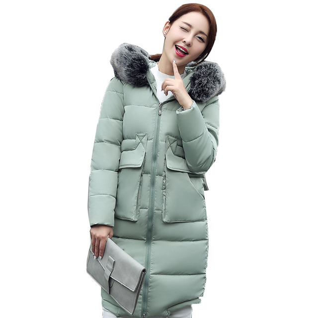 fef841f9156d5 Cotton Padded Women s Winter Jacket Thicken Warm Woman Coat Large Faux Fur  Hooded Coats Parka Long