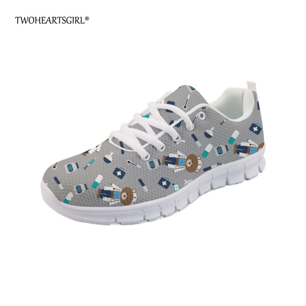 Twoheartsgirl Cute Cartoon Nurse Doctor Pattern Sneakers Leisure Women Flats Lace Up Breathable Mesh Flat Shoes for Woman instantarts fashion women flats cute cartoon dental equipment pattern pink sneakers woman breathable comfortable mesh flat shoes