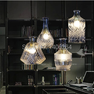 Creative Luxuriant Hand-cut Glass Simulacra Winebottle Decoration Droplight(1-light) Cafe Bar Coffee Shop Hall Club Store 32cm vintage iron pendant light metal edison 3 light lighting fixture droplight cafe bar coffee shop hall store club