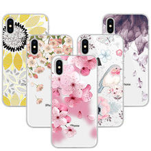 Фотография 3D Relief Phone Case Cover For iPhone X 5.8 inch Floral Cartoon Lace Soft TPU Coque Funda For iPhone X Capa For iPhoneX Apple X