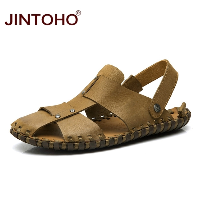 7c039ca9665 JINTOHO High Quality Mens Leather Sandals Summer Men Shoes Genuine Leather Men  Sandals Male Beach Sandals Summer Beach Shoes