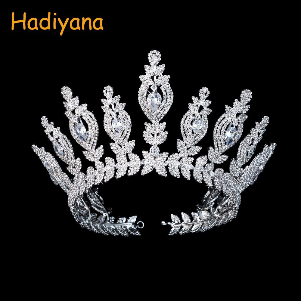 Hadiyana New Shining Star Wedding Bridal Diadem Crowns Luxury Big Copper Bridal Hair Accessories Tiaras Crown