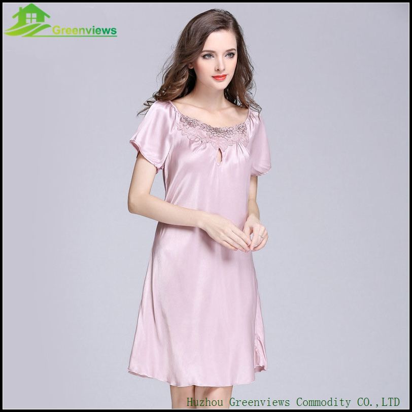 1pcs Sexy Lingerie With Lace Collar Knee Length Woman Sleepwear Dress  Nightwear For Women Have 9 Farbe-in Nightgowns   Sleepshirts from Underwear  ... b5a6b0508