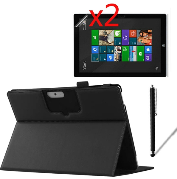 4in1 Luxury Keyboard Station Folio Stand Leather Case Cover +2x Films +1x Stylus For Microsoft Surface 3 1645 Surface3 10.8