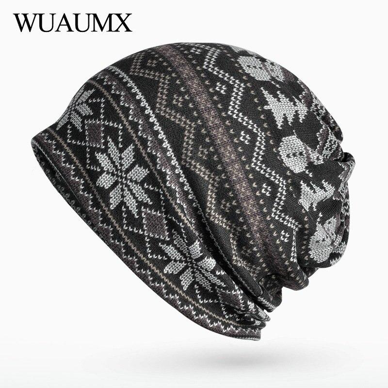 Wuaumx Unisex Spring Autumn Hats For Men Women Neck Warm Ring Scarf   Skullies     Beanies   For Female Hip Hop Turban Hat czapka zimowa