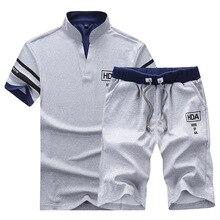 Los hombres trajes de sudor ropa de marca traje Casual de los hombres de verano establece chándales soporte collares Streetwar camisetas + pantalones cortos de moda para hombre conjunto