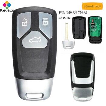 KEYECU Inteligente Botão 433MHz Remoto Chave Do Carro Controle Com 3-FOB para Audi TT A4 A5 Q5 Q7 SQ5 2016-2019, 4M0959754AJ 4M0 959 754 AJ