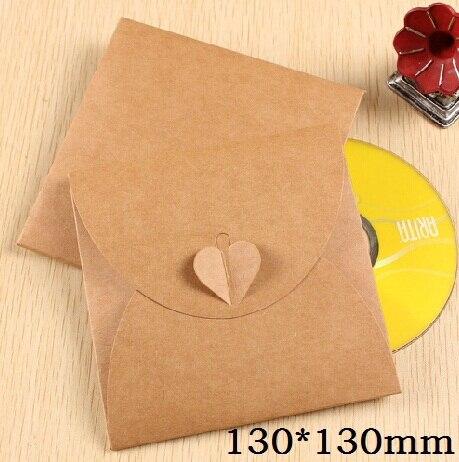 5pcs/lot 130*130mm Vintage Heart Kraft Paper CD Optical Disc Paper Bag DVD Bag DIY Multifunction Card Bag Craft Envelope
