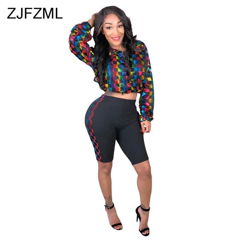 cfa20ada1d1c ZJFZML Plus Size Novelty Two Piece Sweatsuit Women Plaid Print Long Sleeve  Zipper Crop Top+