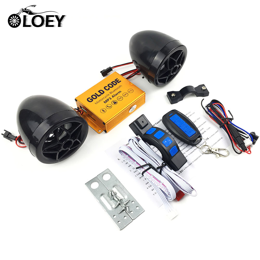 Motorcycle Bluetooth MP3 Music Player Alarm Scooter Anti-theft Security System FM Radio Audio TF Card USB Charging Phone Answer