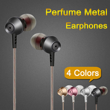 In ear earphone 4 colors Perfume Metal Noise Canceling Sport Headset with microphone handsfree for smartphone MP3 MP4 player