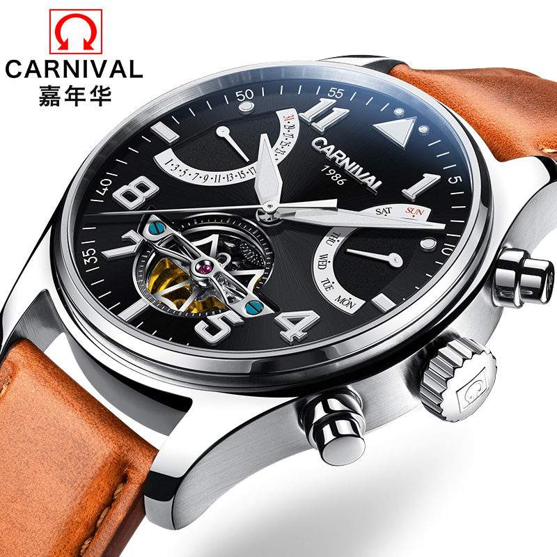 Switzerland Carnival Brand Luxury Mens Watches Multi-function Watch Men Sapphire reloj hombre Luminous relogio Clock C8783-14 wrist switzerland automatic mechanical men watch waterproof mens watches top brand luxury sapphire military reloj hombre b6036