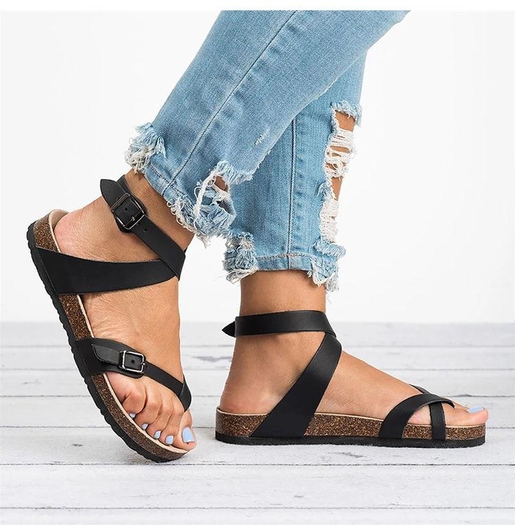 HTB1N9K5bjnuK1RkSmFPq6AuzFXaW Basic Women Sandals 2019 New Women Summer Sandals Plus Size 43 Leather Flat Sandals Female Flip Flop Casual Beach Shoes Ladies