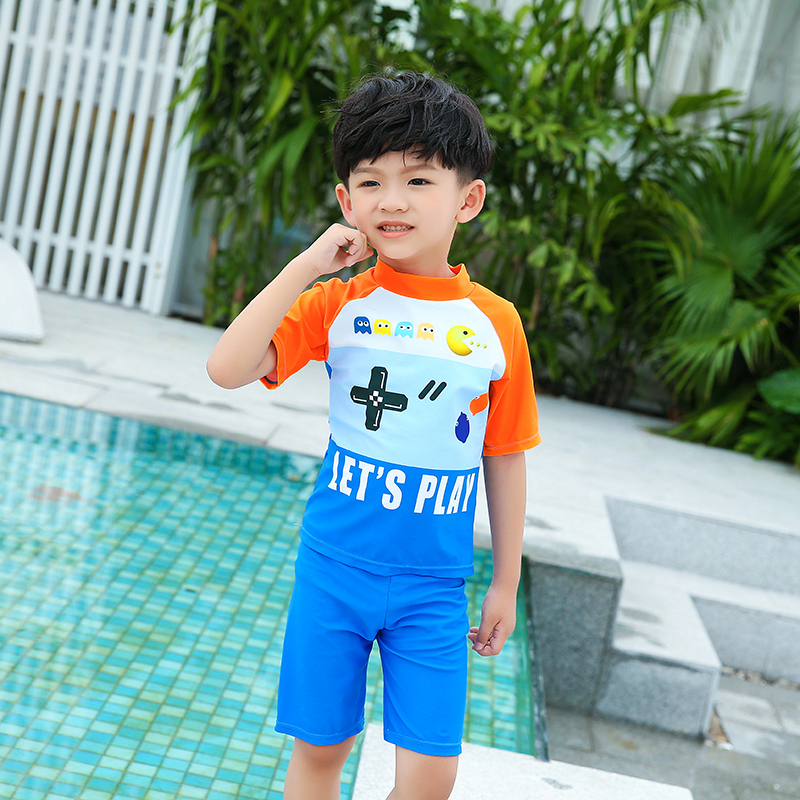 Children Two-piece Suits Kids Boy Swimwear Two Pieces And Swimming Cap Short Sleeves Shirt And Trunks Kinder Children Blue Beach Wear Bathing Suits 2018