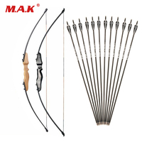 Straight Bow Split 51 Inches 30 Pounds Entry Bow and Mixed Carbon Arrows for Children Youth Archery Hunting Shooting