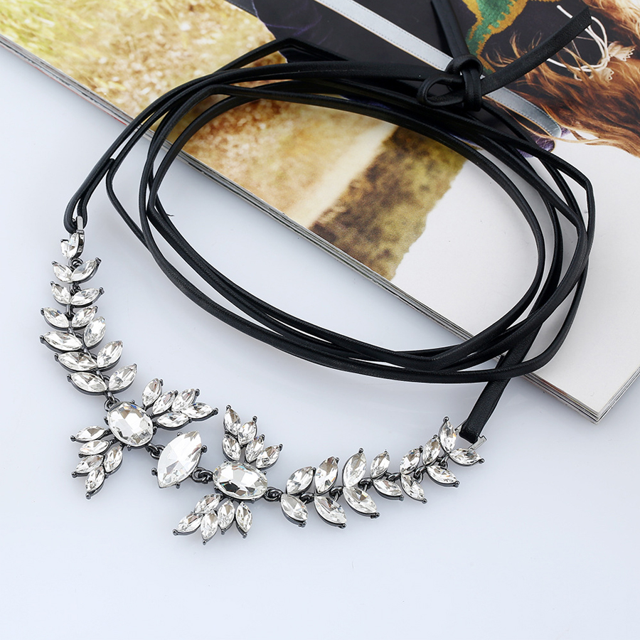 ASACH Fashion Black Leather Rope Chokers Necklaces For Women Girl ...