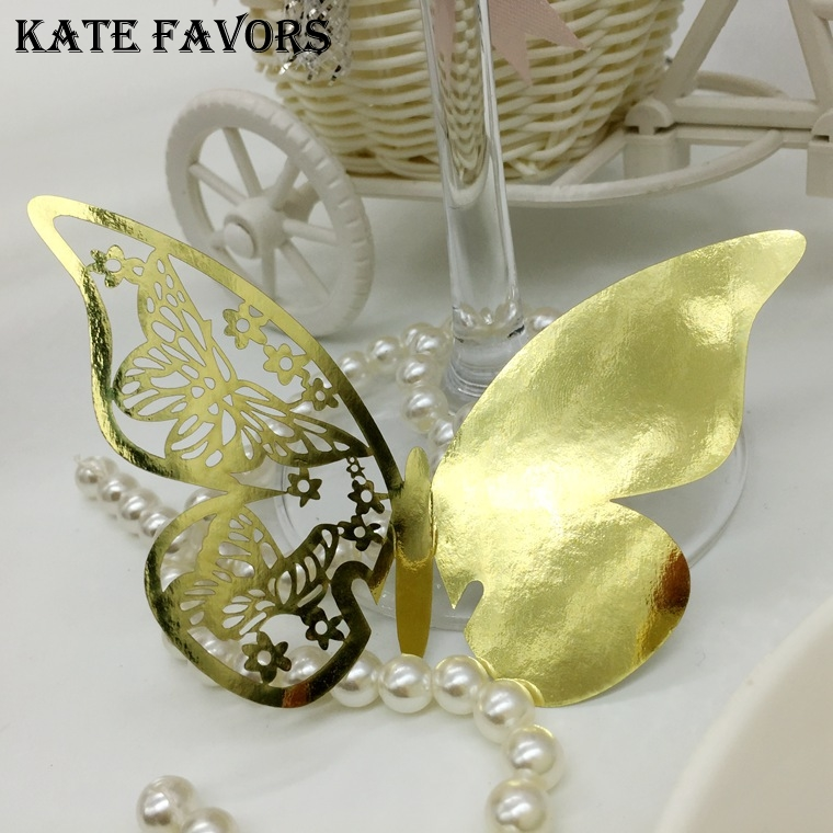 50pcs Laser Cut Butterfly Wedding Party Table Name Place Cards Wedding Party Decorations Supplies Place Cards For Wine Glass image