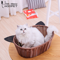 Hoopet Cat Basket Bed Soft Wood Rattan Cute House Cane Products Cat House Breathable Summer Mat