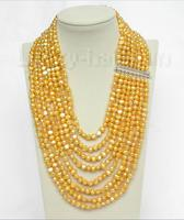 Hot sale new Style >>>>>17 24 8row baroque golden yellow pearls necklace 925 silver clasp j8753