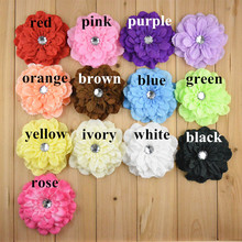 Yundfly 10pcs Peony Flower With Acrylic Button For Children Hair Accessories Artificial Flowers Baby Headbands