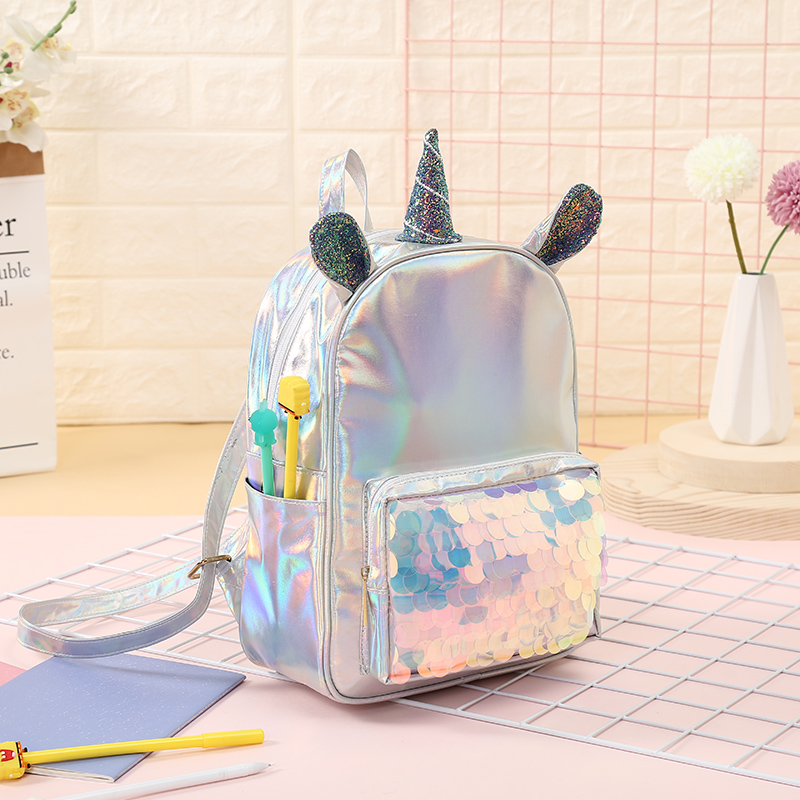 b882490051 Fashion Leather Unicorn Backpack For Women Girls Clear Mermaid Sequins  Travel Bag Teenager Student Schoolbag Mochila Feminina-in Backpacks from  Luggage ...