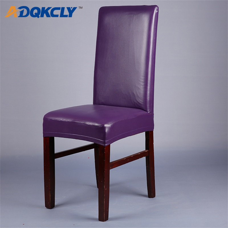 ADQKCLY Purple PU Leather Dining Room Chair Cover Waterproof Anti Dust For Wedding Hotel Banquet Installation 1pc