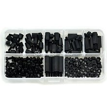 180Pcs / set M2 2.5 M3 * L + 6mm M-F black pitch screw plastic for PCB motherboard fixed nylon bracket gasket classification