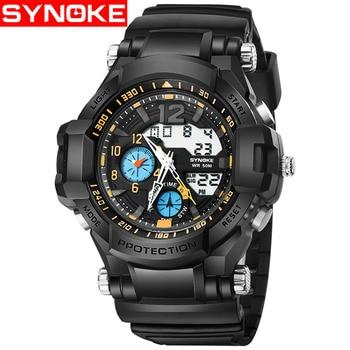 SYNOKE Fitness Watch Digital Mens Watch Double Display Design Men Sports Watches Shock Watches Waterproof Wristwatch Mens