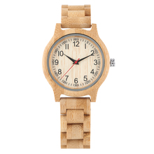 цены Women's Wristwatch Bamboo Quartz Watch Arabic numerals Dial Bamboo Strap folding clasp with safety