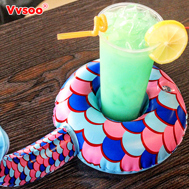 Vvsoo Drink Can Holder Party Decoration Mermaid Rainbow Inflatable Drink Can Holders Floating Summer Pool Toy For Baby Shower