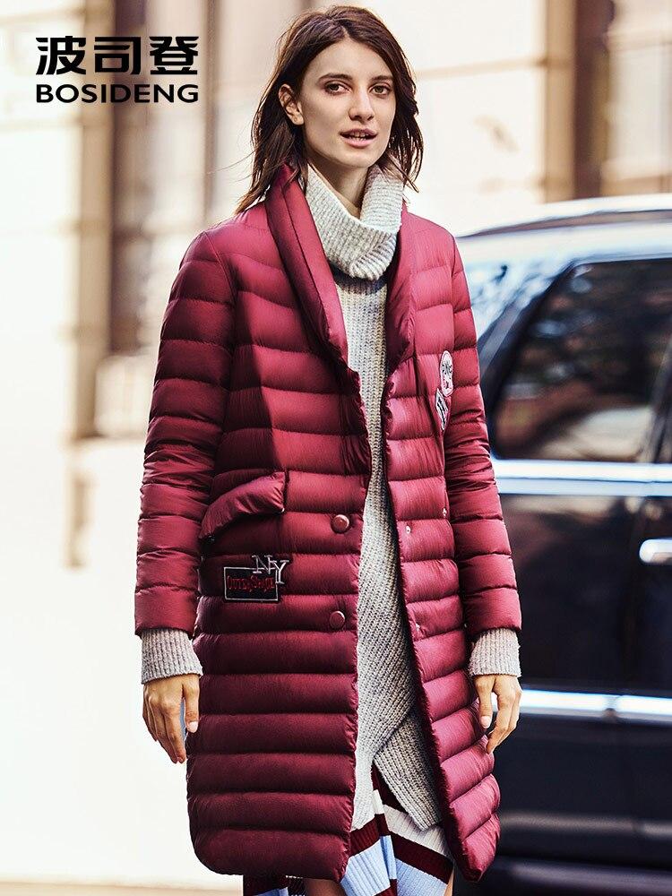 Kadın Giyim'ten Şişme Montlar'de BOSIDENG yeni X uzun aşağı ceket 90% beyaz ördek uzun kaban kadınlar için kış uzun parka OL moda bayan v yaka b1601052'da  Grup 1