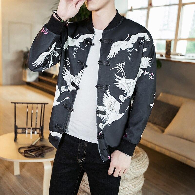 2018 nouvelle veste manteau hommes blanc grue impression noir hommes vêtements d'extérieur traditionnel chinois Design vêtements mode homme vestes