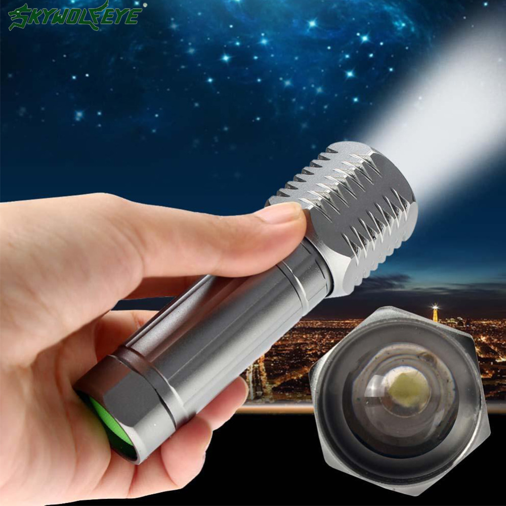 SKYWOLFEYE Brand Mini Flashlight 3 Modes Zoom 3000 Lumens Q5 LED Camping orch Lamp Light Portable Hiking Reading Fishing