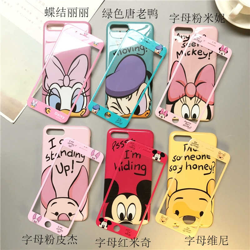 13608cb9532 Japan Korea cute Mickey Minnie Stitch screen tempered glass  protection+lanyard cover case for iphone