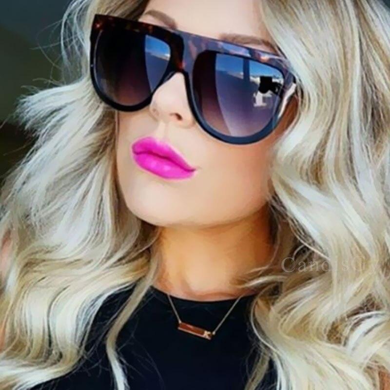 efa0dc9797a4d CandisGY Sombra de Marca Designer de Moda de Celebridades Mulheres Óculos  De Sol Óculos de Sol Flat Top Escudo Senhora Fêmea Super estrela de Grandes  ...