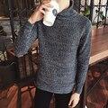 new 2016 winter men's fashion trend comfortable leisure pure color men's head Slim all-match Korean soft simple sweater M-5XL