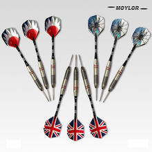 Moylor 6Color 9pcs Professional  Tungsten Steel National Flag Pattern Darts Needle Tip A