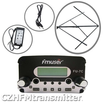 FMUSER 7W FU-7C FM stereo PLL broadcast transmitter Circularly polarized FM antenna power KIT fmuser фото