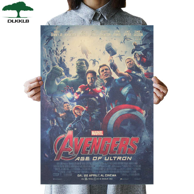 DLKKLB Marvel Vintage Avenger 2 Movie Poster Kraft Paper Poster Bedroom Living Room Decoration Painting Super Hero Wall Sticker